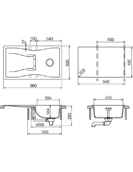 Schock virtuves izlietne Waterfall 45D (D-100) - 2