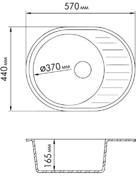 Rossinka virtuves izlietne RS58-45RW beige - 2