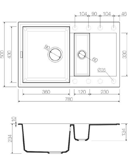 Omoikiri virtuves izlietne Sakaime 78-2-WH - 5