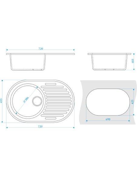 ZETT lab. virtuves izlietne T011Q002 - 3