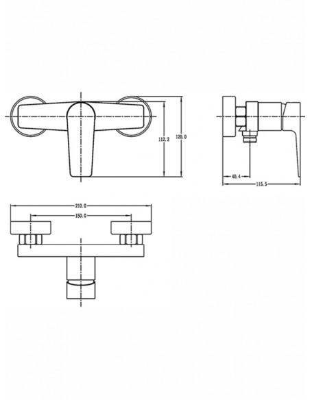 Dušas jaucējkrāns MELNS/HROMS FS1127-4 MAGMA MELNS/HRO - 2