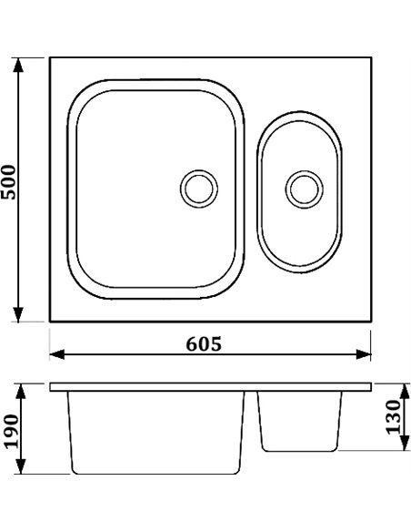 Whinstone virtuves izlietne Гарда 1 1/2B - 3
