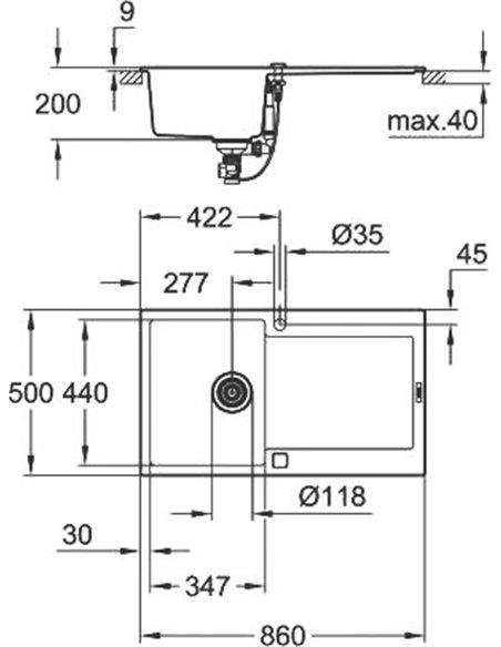 Grohe virtuves izlietne K500 31644AP0 - 12