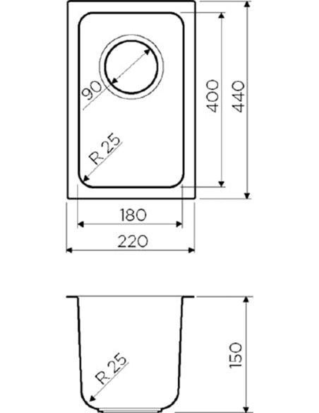 Omoikiri papildu virtuves izlietne Tadzava 22-U-IN - 2