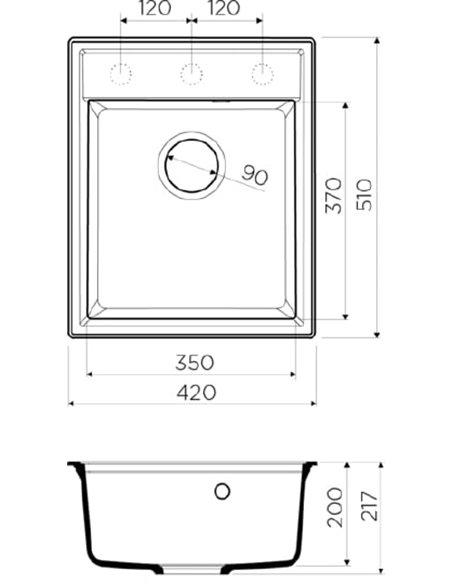 Omoikiri virtuves izlietne Daisen 42-DC - 2