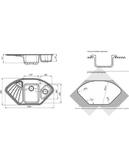 GranFest virtuves izlietne Corner GF-C1040E - 2