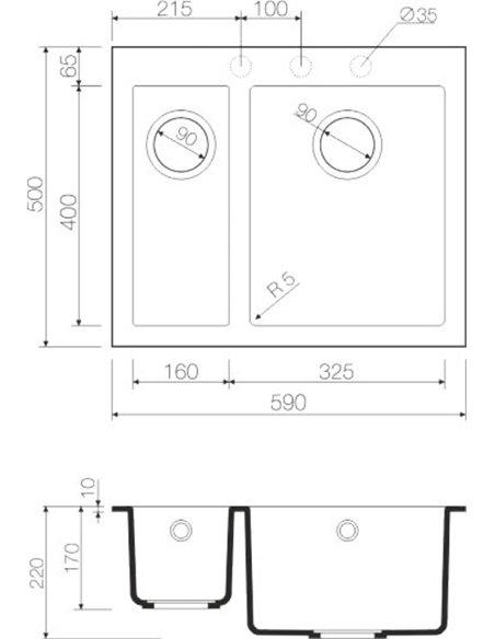 Omoikiri virtuves izlietne Bosen 59-2 BE - 3