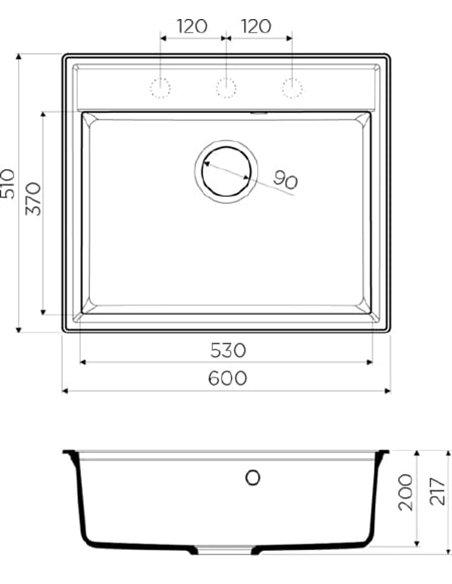 Komplekts: Virtuves izlietne Omoikiri Daisen 60-BL + Jaucējkrāns Omoikiri Umi BL - 4