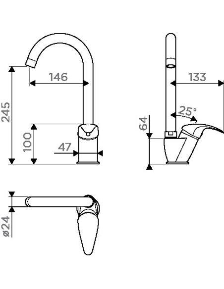 Komplekts: Virtuves izlietne Omoikiri Daisen 60-BL + Jaucējkrāns Omoikiri Umi BL - 5