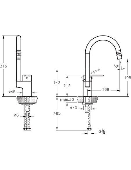 Komplekts: Virtuves izlietne Oulin OL-357 + Jaucējkrāns VitrA Fold S Sink Mixer A42155EXP - 6