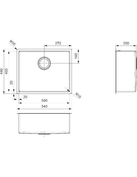 "Reginox virtuves izlietne Miami 50x40 Gun Metal 3,5"" PVD(R30721) - 3"