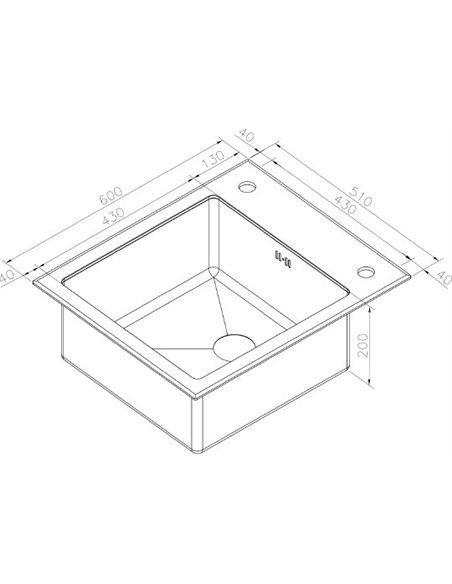 Zorg virtuves izlietne Inox Glass GL-6051-BLACK-BRONZE - 3