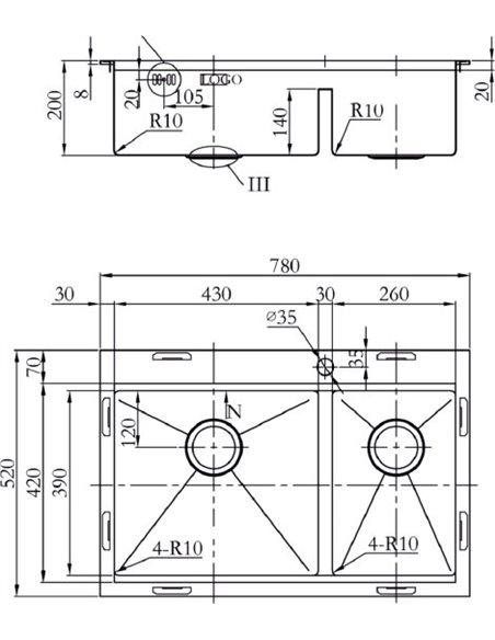 Zorg virtuves izlietne Master X Dixi ZM R-5278-L - 2