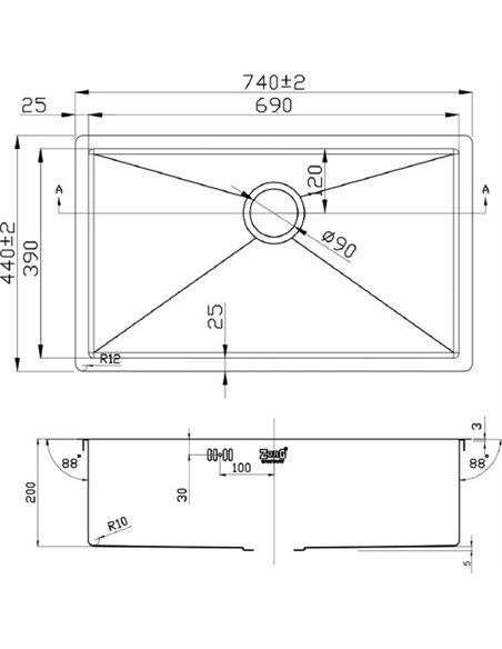 Zorg virtuves izlietne Inox PVD 7444 - 2