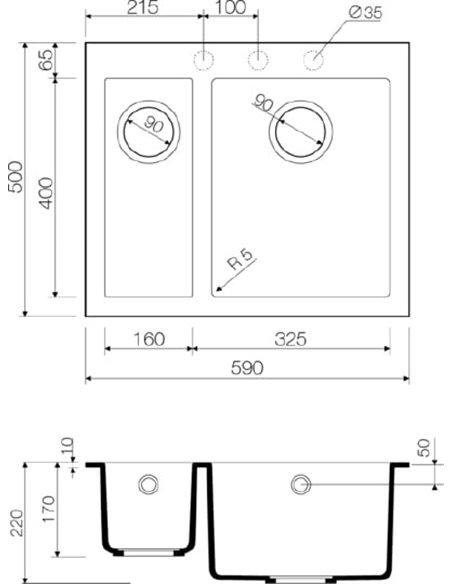 Omoikiri virtuves izlietne Bosen 59-2-EV - 3