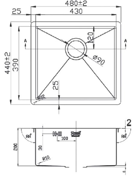 Zorg virtuves izlietne Light ZL R 480440 BRONZE - 2