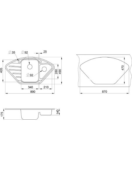 Granula virtuves izlietne GR-9101 - 2