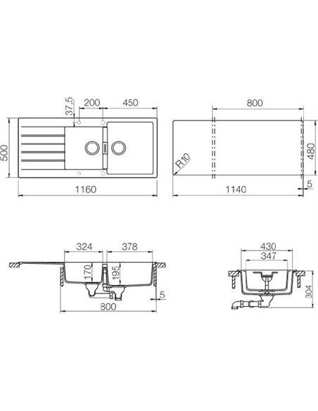 Schock virtuves izlietne Primus 80D (D-200) - 2