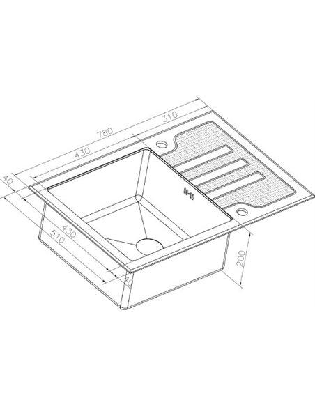 Zorg virtuves izlietne Inox Glass GL-7851-BLACK-BRONZE - 3