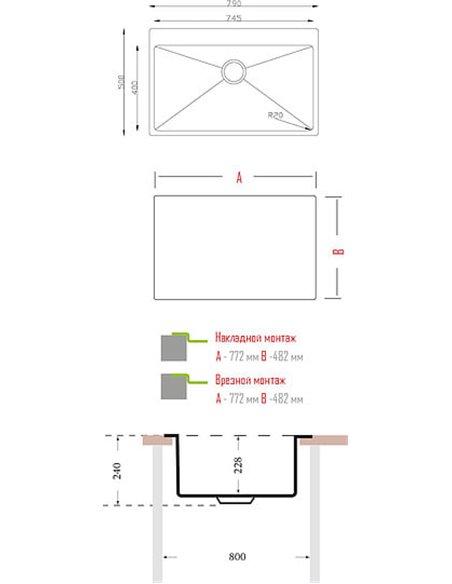 Florentina virtuves izlietne Оптима OP.790.500 - 2