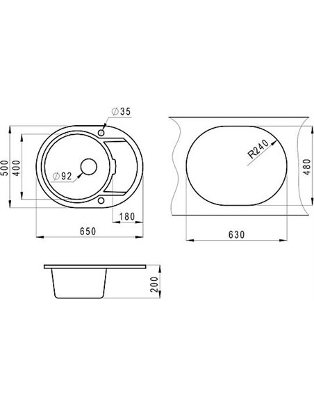 Granula virtuves izlietne GR-6502 - 2