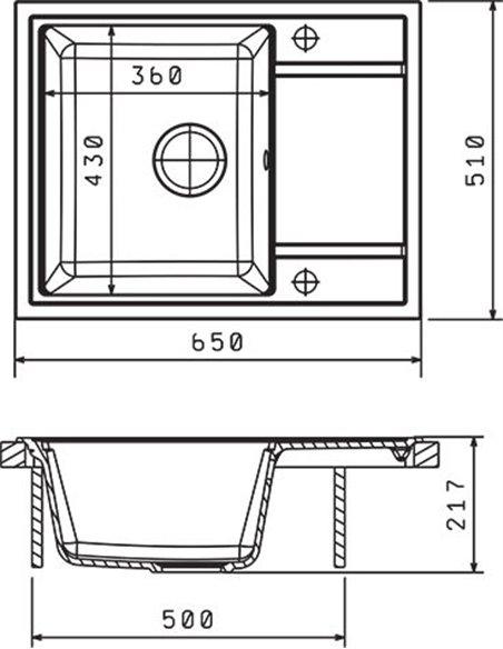 Komplekts: Virtuves izlietne Florentina Липси 650 + Jaucējkrāns Florentina Вита AV - 5