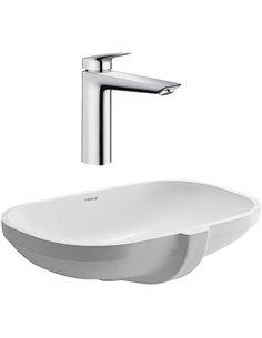 Set:  Mixer Hansgrohe Logis 71091000 for basin + Рукомойник Duravit D-Code 0338490000  - 1
