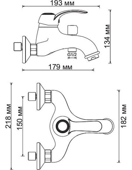 Wasserkraft jaucējkrāns vannai ar dušu Isar 1301 - 10