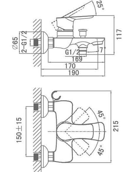 D&K jaucējkrāns vannai ar dušu Reisling Rhein DA1273201 - 3