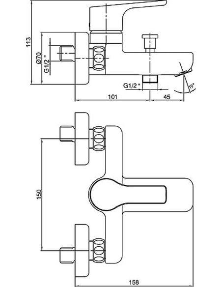 E.C.A. jaucējkrāns vannai ar dušu Luna 102102450EX - 2