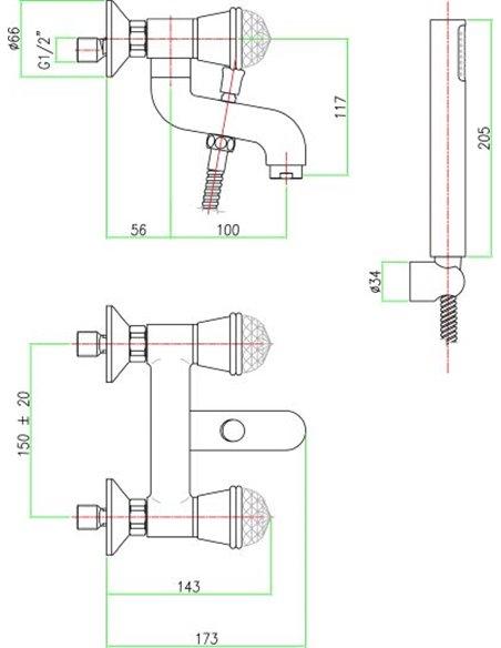 Fiore jaucējkrāns vannai ar dušu XT Sky 17CR0510 - 2