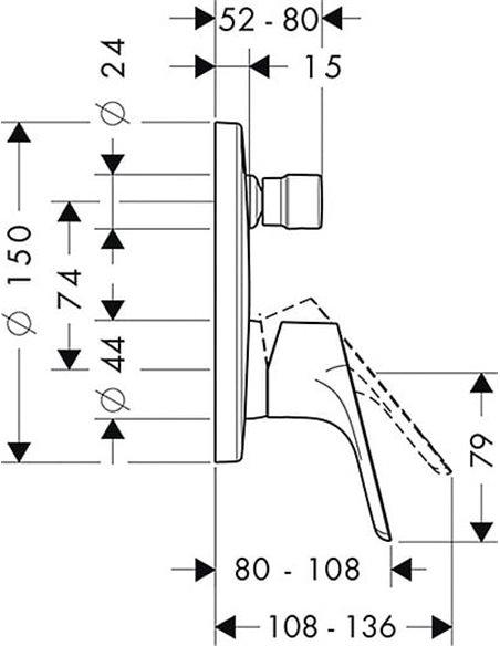 Hansgrohe jaucējkrāns vannai ar dušu Focus E2 31945000 - 3