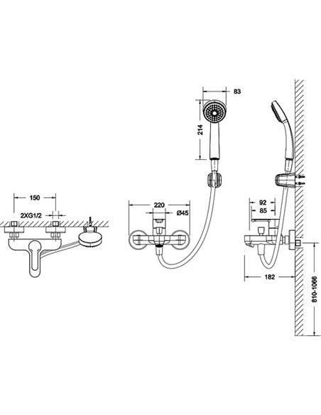 Bravat jaucējkrāns vannai ar dušu Stream F63783C-B - 4