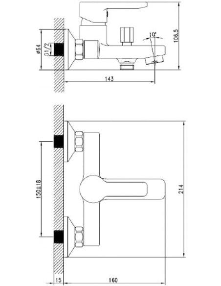 Iddis jaucējkrāns vannai ar dušu Sena SENSB00I02WA - 6
