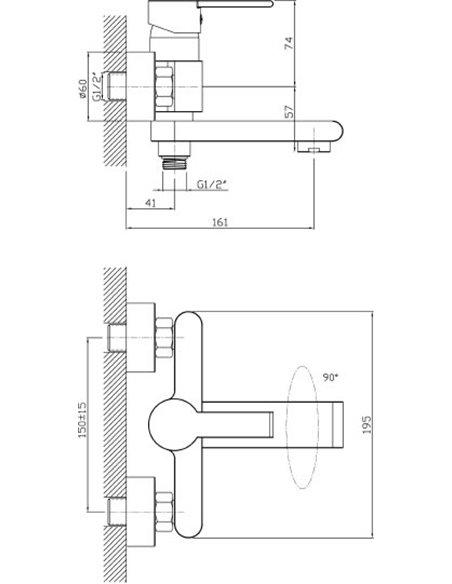 Agger jaucējkrāns vannai ar dušu Strong A1410000 - 2