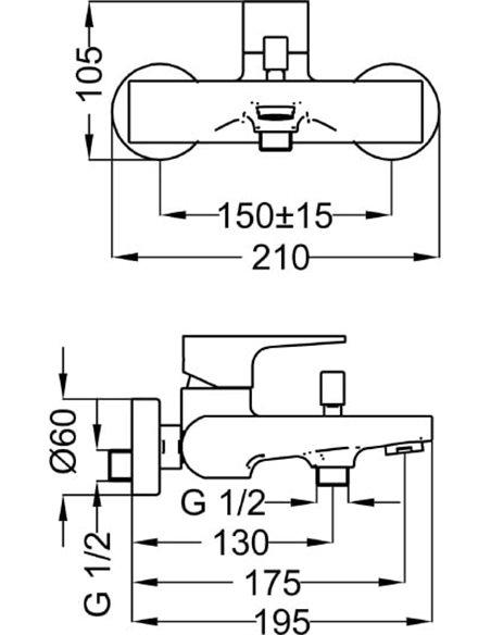 Cezares jaucējkrāns vannai ar dušu Stella STELLA-VM-01-Cr - 2