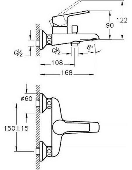 VitrA jaucējkrāns vannai ar dušu Axe S A41070EXP - 3