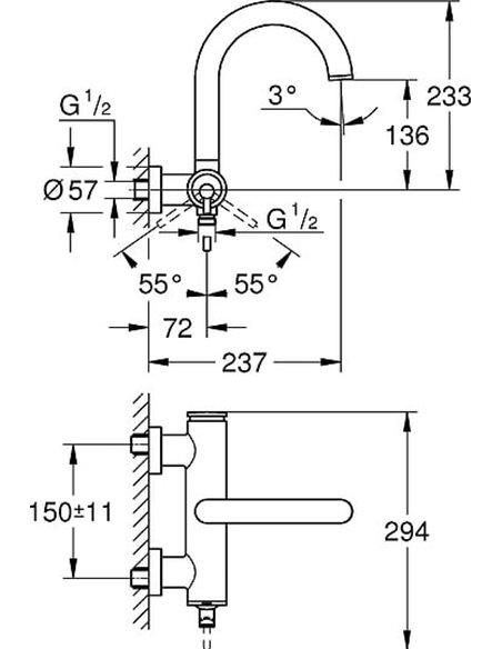 Grohe jaucējkrāns vannai ar dušu Atrio New 32652003 - 2