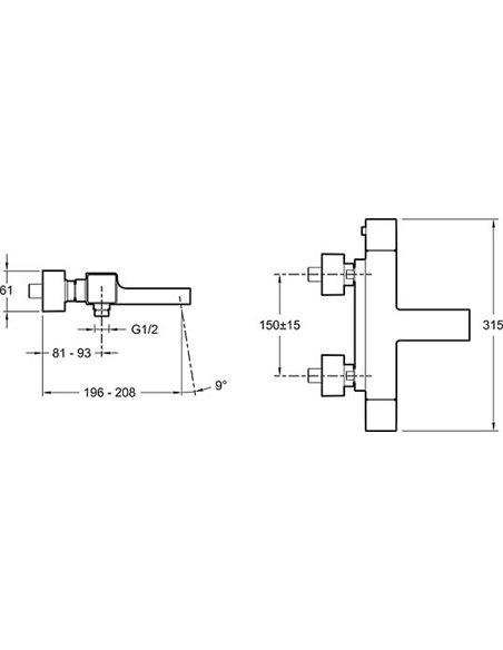 Jacob Delafon termostata jaucējkrāns vannai ar dušu Strayt E9127-CP - 3