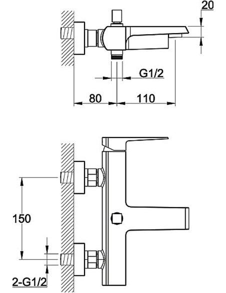 BelBagno jaucējkrāns vannai ar dušu Arlie ARL VASM CRM - 2