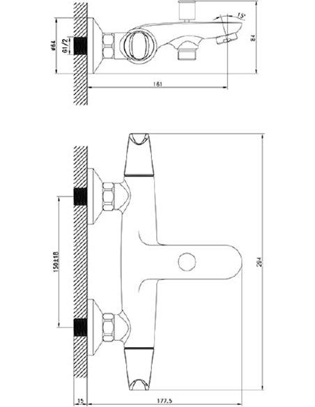 Iddis jaucējkrāns vannai ar dušu Funk FUNSB00i02 - 9