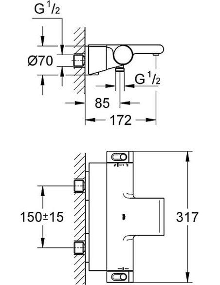 Grohe termostata jaucējkrāns vannai ar dušu Grohtherm 2000 New 34464001 - 9