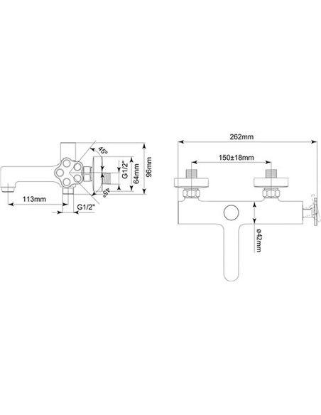 BelBagno jaucējkrāns vannai ar dušu Roso ROS VASM CRM - 2
