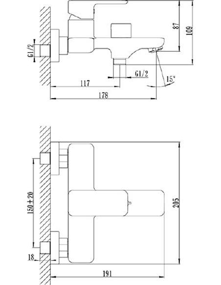 Iddis jaucējkrāns vannai ar dušu Brick BRISB02i02 - 2