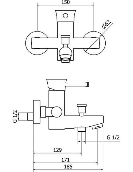 Sturm jaucējkrāns vannai ar dušu Krum ST-KRU-53060-CR - 2