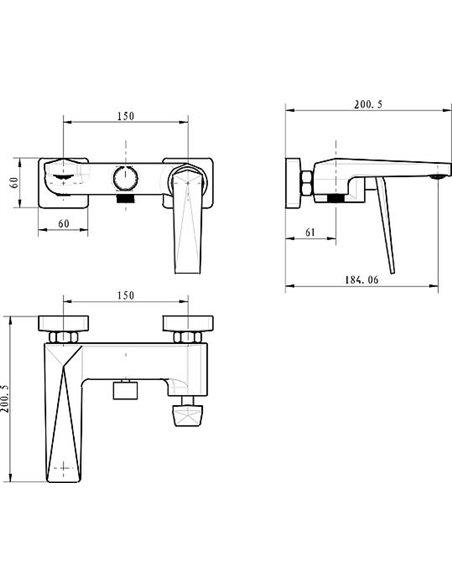 Boheme jaucējkrāns vannai ar dušu Venturo 373-W - 2
