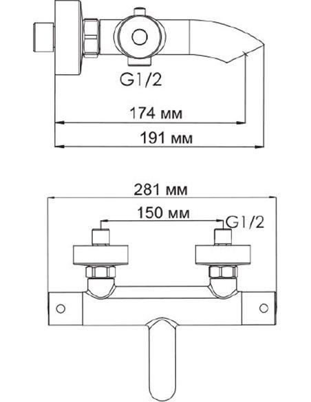 Wasserkraft termostata jaucējkrāns vannai ar dušu Berkel 4811 - 6