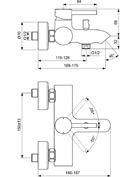 Ideal Standard jaucējkrāns vannai ar dušu Ceraline BC199AA - 2