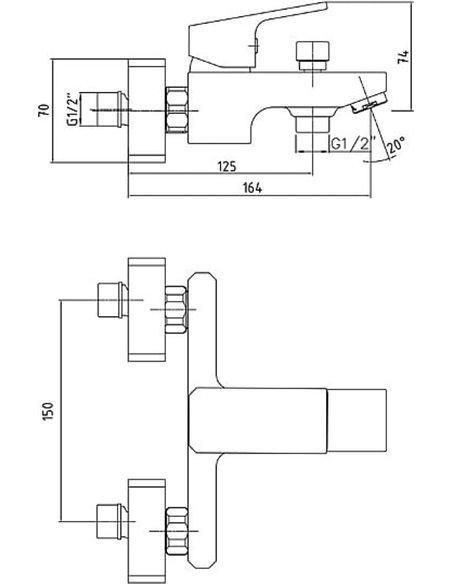 E.C.A. jaucējkrāns vannai ar dušu Tiera 104802469EX - 2