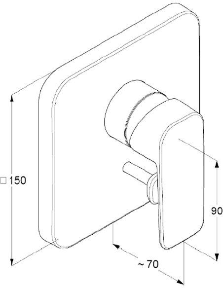Kludi jaucējkrāns vannai ar dušu Pure&Style 404190575 - 2